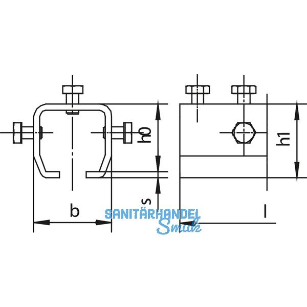 Verbindungsmuffe HELM 1503, Schraube M8 x 16 mm, Stahl gelb passiviert